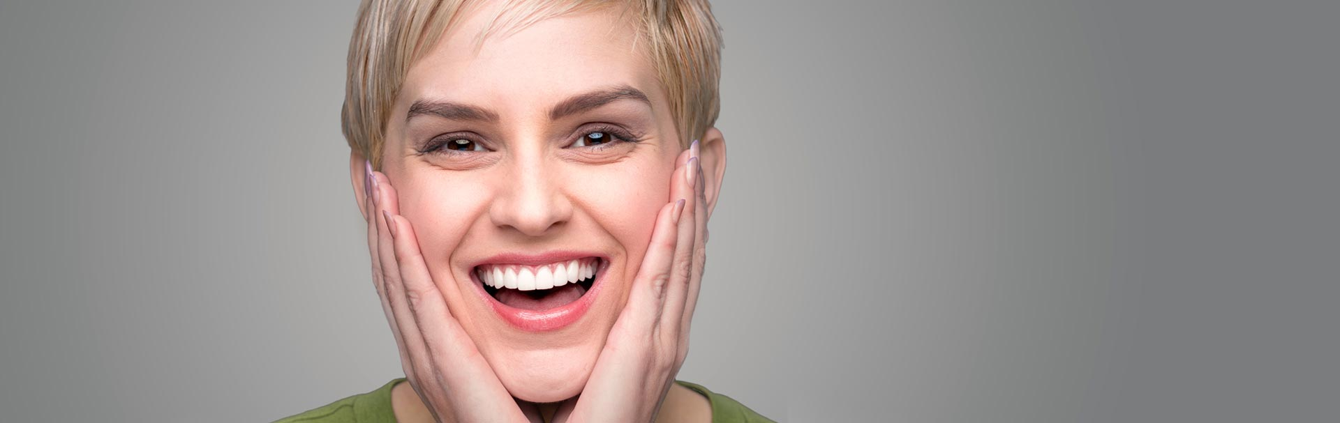 Happy young woman after having sinus lift treatment
